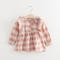 Wholesale Korean Little Baby Girl Dress - Baby Girls Ruffle Checker Dresses Kids 2017 Spring Boutique Clothing Korean Style 1-4 Years Old Little Girls Long Sleeves Dresses