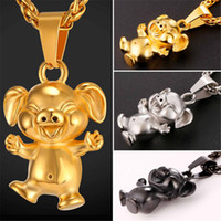Wholesale Cartoon Pig Gift - U7 New Cute Cartoon Pet Pig Pendant Necklace Collier Stainless Steel Gold Black Gun Plated Men Women Animal Lucky Happy Jewelry GP2463