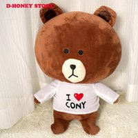 Wholesale Brown Cony Bear - 40CM Line Friends Brown Bear Plush Toys Cony Rabbit Plush Stuffed Doll for Girl Friend Kids Gif toys for kids