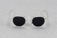 hombres sunglasse al por mayor-2018 Oliver Peoples OV5186 Gregory Peck fashion Vintage Clear Frame Round Polarized Sunglasse Mujeres y Hombres con estuche