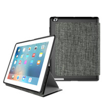 Wholesale Leather Canvas Tablet Case - For ipad Air 2 High Quality Canvas Grain Print Stand PU Leather Cover Magnetic Smart Sleep Wake Case for iPad mini 1 2 3 4 6 Tablet Cases