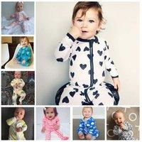 Wholesale Minnie Baby Romper - Baby clothing Romper Bodysuit Long sleeve Zipper Mickey Minnie Prints Ins Cartoon Sleepwear 2017 Spring Autumn Cotton 3 6 9 12 18month