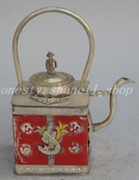 black white teapot - Elaborate Chinese ancient white copper and red ceramic teapot