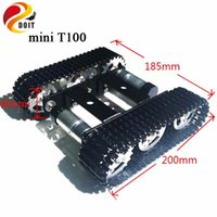 Wholesale Rc Crawler Kit - Wholesale- DOIT Metal Robot Tank Chassis mini T100 Crawler Caterpillar Tracked Vehicle with Plastic Tracks for DIY Robot Project Design RC