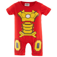 baby boy iron man funny costume infant toddler summer jumpsuit short sleeve cotton one piece halloween party playsuit