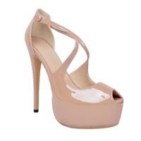 mulheres da forma das sandálias da forma venda por atacado-Kolnoo Womens Moda Handmade 15 cm Sky High Heel Peep-toe Sexy Partido Prom Sandálias Sapatos Bege XD064