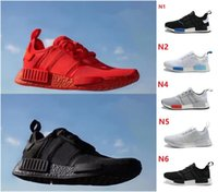 Wholesale Hot Shoe Cheap For Men - Hot Cheap NMD R1 Monochrome Primeknit PK Running Shoes For Men Women Triple Black White Red Nmds Runner R1 Fashion Sneakers
