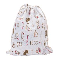 Wholesale Babies Clothes Shops - Wholesale- Woman Bag Shopping Bags Baby Fashion Clothing Kids Cute Cat Animals Flower Printed Organizer Drawstring Cotton Travel Pouch Ba