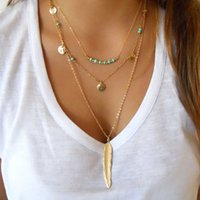 Wholesale Gold Multi Necklace - Europe and the United States vintage metal feathers tassel sequins multi - layer women pendant necklaces jewelry accessories