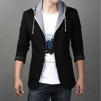 Wholesale Evening Blazer - Wholesale- New 2017 spring and autumn male blazer slim plus size with hood casual suit jacket even the hat suit hooded leisure suit t-010