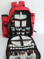 Wholesale Zipper Tableware - Picnic Backpack Bag for 4 Person With Cooler Compartment, includes Tableware & Waterproof Blanket,Perfect for Family Picnic