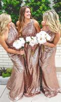Wholesale Sparkling One Shoulder Bridesmaid Dresses - 2017 New One Shoulder Rose Pink Sequins Long Bridesmaid Dresses Sparkling Ruched Floor Length Evening Party Prom Dresses Custom Made