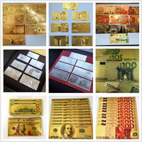Wholesale Hot Foil Type - Hot Sales New Creative Christmas Gifts of Gold Foil Commemorative Banknotes Novelty Home Furnishing Decorative Gift Dollars or Euros