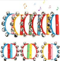 percussion tamburin großhandel-Großhandel-NEU KOMMEN Holzgriff Schlitten Jingle Hand Bell Tamburin Rassel Percussion Kid Musik Spielzeug