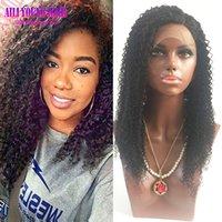 bakire brezilya afro peruk toptan satış-Işlenmemiş Bakire Brezilyalı Kinky Kıvırcık Peruk Tutkalsız Tam Dantel İnsan Saç Peruk Siyah Kadınlar Için Afro Kıvırcık Dantel Ön İnsan Saç Peruk