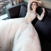 Ball Gown Model Pictures 2017 Fall Winter SSYFashion New The Bride Luxury Wedding Dress The Princess Elegant Long Sleeved Multicolor 2017 Lace Flower Court Train Wedding Gown