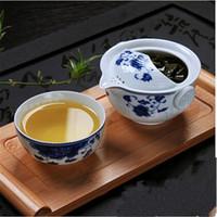 çay mavisi toptan satış-YGS-Y226 Çay seti 1 Pot 1 Kupa zarif gaiwan Güzel ve kolay çaydanlık su ısıtıcısı Mavi ve beyaz porselen çaydanlık dahil
