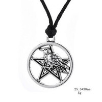 Wholesale religious halloween crafts - Silvery Sigils Craft Pentagram Hand Stamped Animal Wicca Charm Pendant Necklaces Talisman Viking runes Religious Jewelry