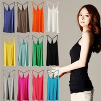 Wholesale Sexy Y Girl - Sexy Women's Strap Solid Tanks Crop Tops Summer Girls Sleeveless Y Straps Modal Camisole Camis Vests