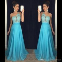 Wholesale One Piece Dresses For Winters - 2017 Light Sky Blue Prom Dresses One Shoulder A-line Chiffon Long Custom Made Evening Party Gowns For Girls