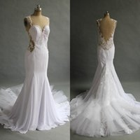Wholesale Cheap Real Gold China - Real Image 2017 Sexy Illusion Back Mermaid Wedding Dresses Long Cheap Lace Applique Chapel Train Bridal Gowns Custom Made China EF6231