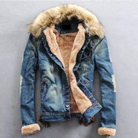 Wholesale fur collar jackets - Wholesale- 2016 Winter Ripped Denim Jacket Men Clothing Jean Coat Men Casual Jacket Outwear With Fur Collar Wool Thick Clothes Plus Size