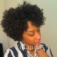 peluca rizada llena al por mayor-Peluca rizada rizada rizada 100% sin procesar del pelo virginal brasileño completo con pelucas delanteras del pelo humano del cordón del rizo del pelo del bebé para las mujeres negras