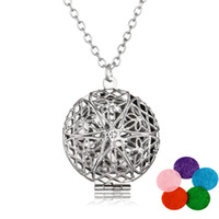 Wholesale Wholesales Antique Jewelry - Premium Aromatherapy Essential Oil Diffuser Necklace Locket Pendant Antique Silver perfume locket 60cm Chains Jewelry With 5 Pads