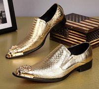 Wholesale Office England - New pointed toes England fashion leather men's shoes hair stylist Nightclub marry slip-on trend increase silver gold shoes