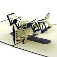 cartões 3d kirigami venda por atacado-Novo Dia De Páscoa 3D Pop Up Avião Handmade Melhor Desejo Cartão De Saudação Kirigami Fontes Do Partido de Presente