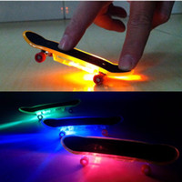 Wholesale Sport Deck - Wholesale-Mini Finger Skateboards Toys LED Light Novelty Finger Sports Skateboard Board Deck Boy Kids Children Gift Colorful Skate board