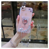 Wholesale Rhinestone Cases For Iphone 5s - for iphone 5 5s se 6 6s 7 8 plus X Diamond pendant glitter bear finger ring case cover