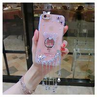 Wholesale Brown Diamond Pendant - for iphone 5 5s se 6 6s 7 8 plus X Diamond pendant glitter bear finger ring case cover