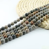 Wholesale Black Circle Picture - Polished Smooth American Picture Jasper Round Beads Semi Precious Gemstone Bead 4 6 8 10mm 15 inch Strand Per Set L0075#