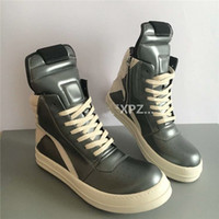 Wholesale Dancing Plush - Fashion New Owens Geobasket Metallic Leather High-top Sneakers Boots Man And Women's Tend Street Dance Rock Roll Trainers Shoes Size 35-45