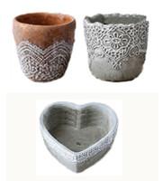 Wholesale Garden Cement - 3PCS MOQ mold Concrete Cement Pastoral Retro Flower Pots for home & garden Table Planters Tabletop furnishings creative Decorative Pots
