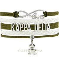 Custom-Infinity Love Kappaa Delta Teddy Bear Charm Multilayer Bracciali Olive Green Pearl White Leather Moda donna