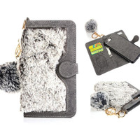 Wholesale Wholesale Plush For Hair - Fashion Rex Rabbit Fur Filp Cover Wallet Case With Card Solts Plush Warm Hair Ball For iPhone 7 6 6s plus OPP BAG