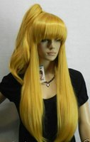 Cosplay Long Light Gold Blonde Heat Wig + One Clip on Ponytail