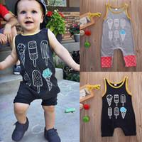 monos negros al por mayor-Ropa para bebés Ropa para niños pequeños mamelucos Pantalones cortos para niños Ropa infantil Traje para niños Traje de pijama Chaleco Traje de algodón negro
