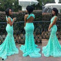 vestidos de baile afro-americano venda por atacado-2K17 Nova Turquesa Lace Prom Vestidos Sereia V Neck Sexy Cutaway Backless Moda Africano Americano Longos Vestidos de Noite Vestidos No Tapete Vermelho