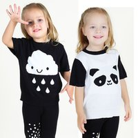 Wholesale Knit Shirt Children - Summer T-Shirt for Children 2017 Kid Apparel Baby Panda Cloud Pattern Thin Cotton knitting t shirt Boys Girls Top Tees Outwear