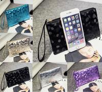 Wholesale Black Sequin Clutch Wallet - Free DHL Ladies Leather Crocodile Pattern Clutch Handbags Designer Sequins Makeup Cosmetic Bag Fashion Women Phone Coin Purse Wallet