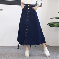 Wholesale Long Skirts Tall - The new 2017 joker double-breasted split cowboy bust posed A long words in long skirt of tall waist skirt