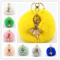 Wholesale Diamond Key Chain Crystal - Real Rabbit Fur Ball Keychain Soft Fur Ball Diamond little angel Key Chains Ball Poms Plush Keychain Car Keyring Bag Earrings Accessories