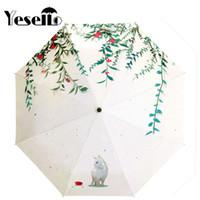 gatos guarda-chuva venda por atacado-Yesello Forest Cat Projeto Original Três Dobrável Guarda-chuva 8 Rib Wind Resistant Frame Para Mulheres Senhora