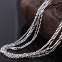 Wholesale Silver Jewellery Bag - Wholesale- wholesale jewellery silver box chain for pendant stock 16 18 20 22 24 26 28 30 inch silver chain 10pcs packing in opp bag
