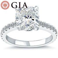 Wholesale Gia Diamond Engagement Rings - 3.59 Ct. GIA Certified F-VS1 Cushion Cut Diamond Engagement Ring Set In Platinum