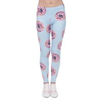Wholesale Jeggings Girl - Girl Leggings Donut Pug 3D Graphic Print Women Skinny Stretchy Sky Blue Pencil Pants Lady Tight Capris Casual Jeggings Trousers New (J41595)