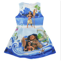 Wholesale Designer Clothes For Kids - Moana Dress Girl Kid Designer Baby Clothes Print Kid Dress Cartoon Sleeveless Skirt For Summer Clothing